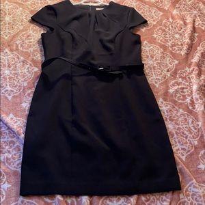 Black belted pencil skirt dress